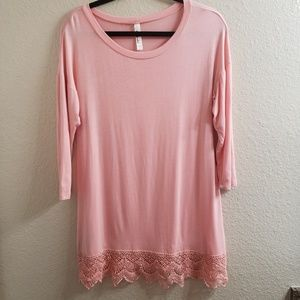 Emerald Light Pink Tunic with Lace Bottom